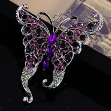 Vintage Butterfly Insect Silver plated Alloy Brooch Pin Rhinestone Crystal