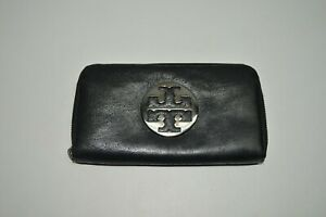 Tory Burch Cracked Leather Large Zip Around Continental Wallet
