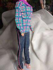 Vintage Barbie Clothes Mod Jeans piping, plaid shirt, pink platform heels