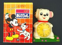 Vintage Modern Toys Japan 101 Dalmatians Toy Figure Clock in Box w/ Yellow Dial