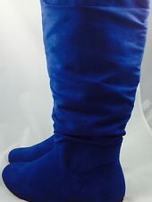 Large Size Ladies Blue Faux Suede Knee High Boots size UK 10 PLUS SIZE