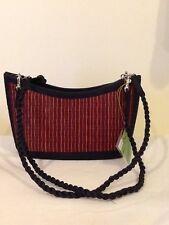 Baskets of Cambodia Tatami Handwoven Grass Straw Handbag  Vegan Red Tan