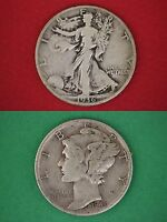 MAKE OFFER $15.00 Face 90% Silver Mercury Dimes Walking Liberty Half Dollars