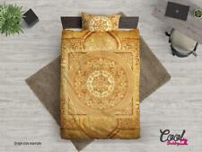 Gorgeous Gold Mandala Vintage Boho Chic Cal King Duvet Cover & Pillow Cases Nwt