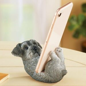 Adorable Schnauzer Puppy Dog Cell Phone Holder Desk Stand Statue