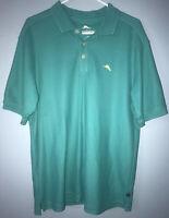 Mens Tommy Bahama Brown Supima Hawaiian Golf Polo Shirt Size M Beach Casual