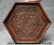 """14"""" Old Chinese Huanghuali Wood Carving Palace Flower Hexagon Plate Tray Pallet"""