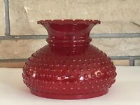 """Vintage 7"""" Fitter GWTW Red Cranberry Hobnail Glass Hurricane Oil Lamp Shade"""