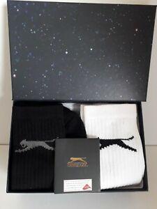 Slazenger Mens Socks Black/ White Size 6-11 In Gift Box