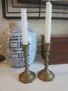 """Vintage Pair Solid Brass Candle Holder 6"""" Tall"""