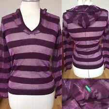 Benetton Lurex Kapuzenshirt Metallic Fäden Shirt Kapuze Lila Gr S 1A