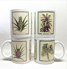 HILO HATTIE THE STORE OF HAWAII .. SET OF 4 2005 TROPICAL FOLIAGE CERAMIC MUGS