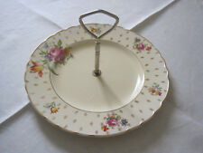 PRETTY ROYAL STAFFORDSHIRE A J WILKINSON FLORAL HANDLED CAKE PLATE