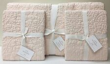 NEW Pottery Barn Belgian Linen Floral Stitch KING Quilt w/STD Shams, BLUSH PINK