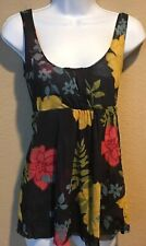 Sweet Pea By Stacy Frati Sleeveless Navy Blue Floral Scoop Neck Tank Top Small
