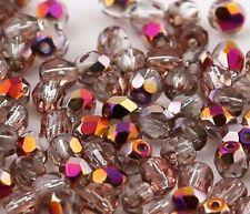 40 Preciosa Glasschliffperlen 4mm Feuerpoliert Perlen Vitrail Smoky Quartz X348