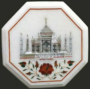 13 Inches Marble Coffee Table Top Inlay with Taj Mahal Replica Side Table top