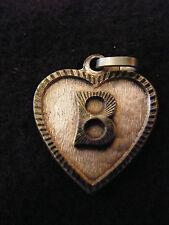 Pendentif Coeur Médaillon en Argent Plaqué  Lettre B 2 cm