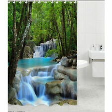 Waterfall Nature Scenery Shower Curtain Bath Divider Blind Panels w/ Hooks