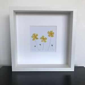Mothers Day gift, sea glass daffodil picture, flower lover gift, spring flowers.