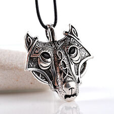 Antique Silver Plt Ornate Wolf Face Pendant Necklace Ladies Mens Viking Norse 1