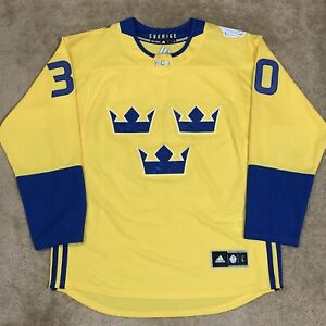 Adidas Henrik Lundqvist Team Sweden 2016 World Cup Of Hockey NHL Jersey Yellow L