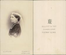 Elliott & Fry, Londres, femme à la voilette CDV vintage albumen Tirage albumin