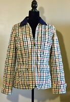 Talbots Size S Multicolored Plaid Quilted Stitch Jacket Corduroy Collar