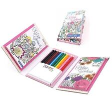 TRAVEL SET ADULT COLOUR THERAPY COLOURING BOOK & PENCILS CHILDREN HANDBAG SIZE