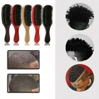 Unisex Natural Curved Soft Boar Bristle Wave Hair Brush Wooden Handle Premium