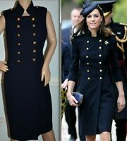 Alexander McQueen 2011 Military Double Breasted Navy Jacket Dress US 2 / IT 38