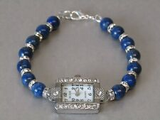 Lapis Lazuli & Crystal Gemstone Beaded Bracelet Diamante Wrist Watch Stunning!