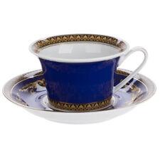 Versace Par Rosenthal Medusa Blue Teacup Et Soucoupe #409620-14640 Marque Nib F