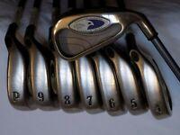 Mens RH Callaway Golf Hawkeye Tungsten Titanium Irons 3-PW Graphite Regular Flex