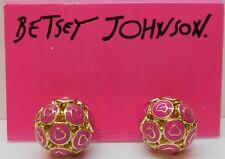 Betsey Johnson Candy Land Pink Heart/ Gold Tone Orbital Stud Earrings B07152-E01