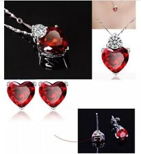 Mother's Day Gift Red Ruby Necklace Earrings Jewellery Set Free Gift Box