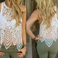Women Lace Crochet Vest Tank Tops Sleeveless Summer Casual Blouse T Shirt Top US