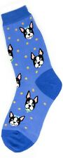 Foot Traffic Cotton Blend Blue Boston Terrier Women' Crew Socks New