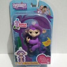 Fingerlings Interactive Baby Monkey Toy Mia Purple White Bonus Stand WowWee