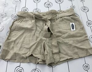 Old Navy Women's Paper Bag Shorts Belted Linen Blend Size 8 Oatmeal