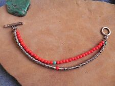 American Eagle~Red, Turquoise & Silver tone 2 strand Bracelet AEO