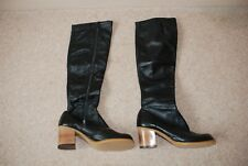 Ladies genuine Vintage 1971 black leather knee high full zip boots size UK 3.5