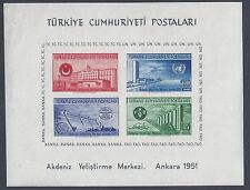 TURKEY 1952 UN SOUVENIR SHEET Sc 1054a NEVER HINGED