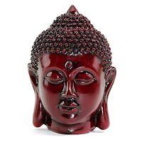"Feng Shui 5"" Red Meditating Buddha Head Figurine Peace Statues Home Decor"
