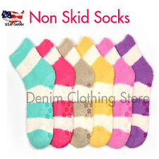6 PAIR WOMEN COZY FUZZY NON SKID STRIPE SUPER SOFT WINTER SLIPPER SOCKS 9-11 Lot