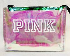 1 Victoria's Secret Pink CLEAR POUCH Iridescent School Beauty Pouch Zip Up Logo