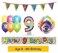 AGE 9 - Happy 9th Birthday Party Banners Balloons Badges Candles & Decorations
