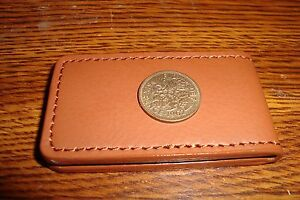 1962 Lucky WEDDING Sixpence Money Clip BUCHANAN'S DELUXE Faux Leather Magnetic