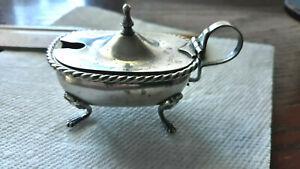 Antique Salt Cellar dish Coin SOLID 800 silver panther feet London mark 44 gr
