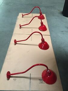 4pc AGB101-AA9-RED Vintage look Reflector Lighting Gooseneck RLM BARN LIGHTS